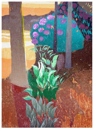 """Hosta Garden""<br /> linocut  7.25""x10""<br /> edition of 4; 2011"