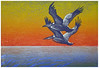 """Pelican Dawn II""<br /> color woodcut/wood engraving<br /> 5.5"" x 8""<br /> edition of 10: 2009"