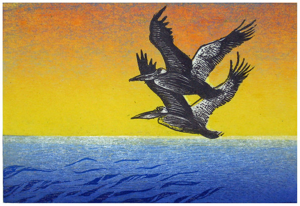 """Pelican Dawn I""<br /> color woodcut/wood engraving<br /> 5.5"" x 8""<br /> edition of 10: 2009"