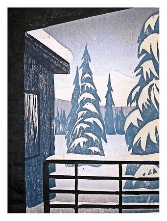 "ALASKA WINTER<br /> color woodcut<br /> 8""x10.5""<br /> edition of 20, 2006"
