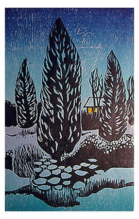 "WINTERSET<br /> color woodcut<br /> 11""x18""<br /> edition of 30, 2003"