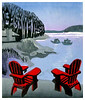 """RED CHAIRS AT THE WHARTONS""<br /> color woodcut 8""x10""<br /> edition of 25, 1998"