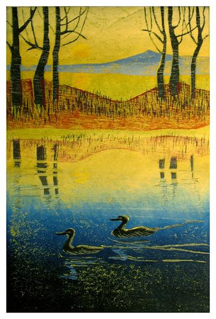 """DAWN PATROL2<br /> color woodcut<br /> 8""""x12""""<br /> edition of 30, 2004<br /> <br /> Best Graphic<br /> Falmouth Artists Guild<br /> Fall Juried Show, 2004"""