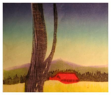 """PRIMAVERA<br /> color woodcut<br /> 5""""x6"""" <br /> edition of 10, 1993"""