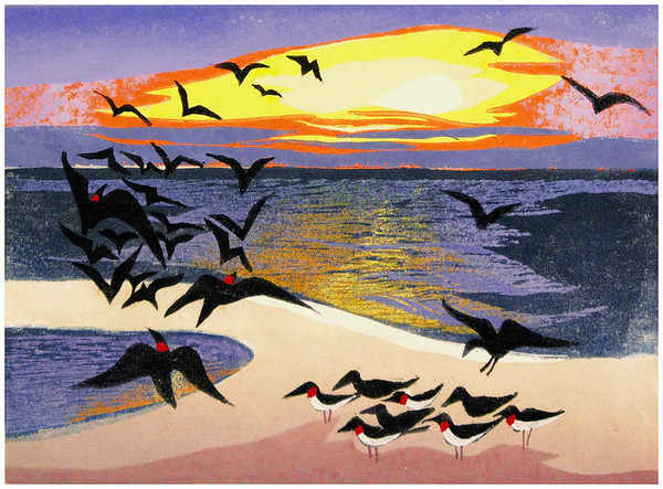 """Sunrise Scramble""<br /> color woodcut: 9""x12""<br /> edition of 5: 2013"