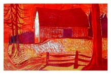 "BARN AT SUNSET<br /> Color Woodcut<br /> 11""x18""<br /> edition of 6, 1969"