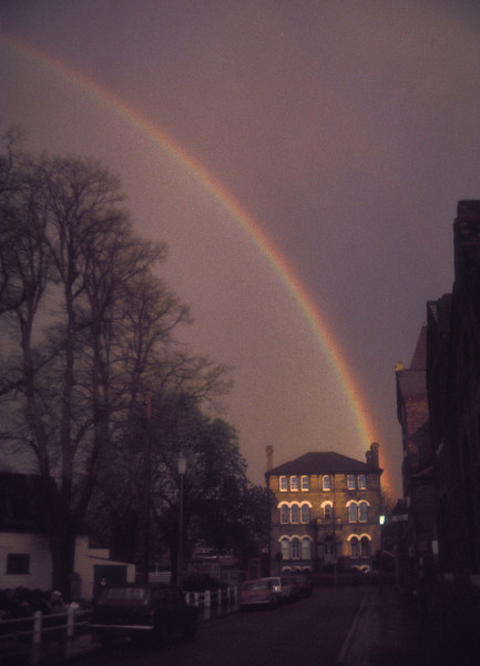Rainbow at end of the street