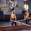Amateur oarsmen practicing