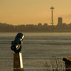 spotting scope looks towards Space Needle from Alki beach at Hamilton Park