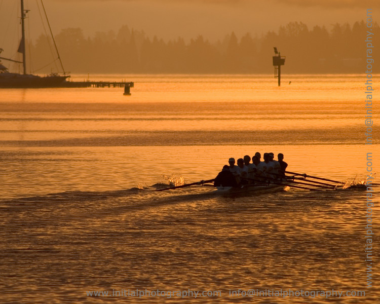 crew team practices early in the morning in Lake Washington