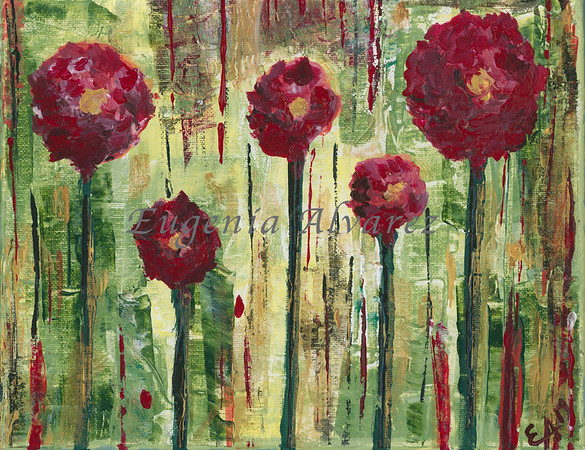 Red Flowers  - Acrylic