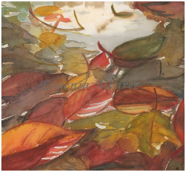 Fall Leaves in the Water. Watercolor Painting Art Print Fine Art Print from Watercolor Painting