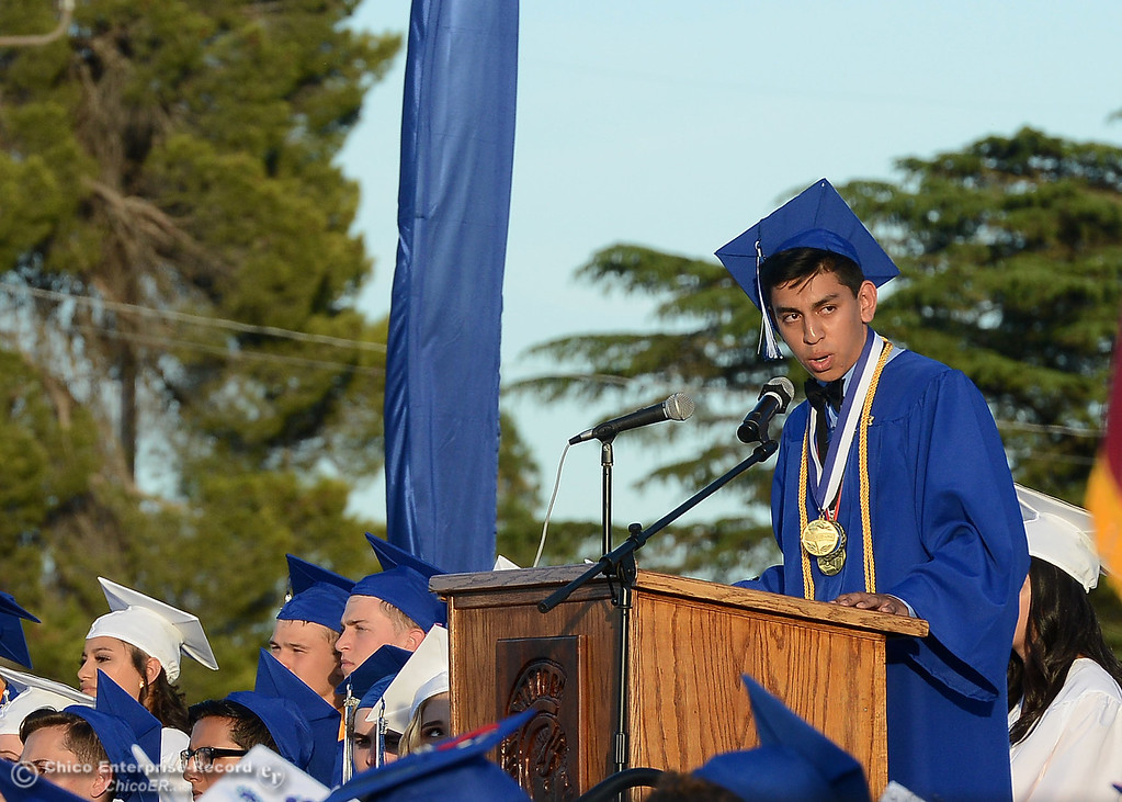 . Valedictorian Aron Nunez speaks to his peers and the crows gathered to see Orland High seniors graduate Friday, June 2, 2017, in Orland, California. (Dan Reidel -- Enterprise-Record)