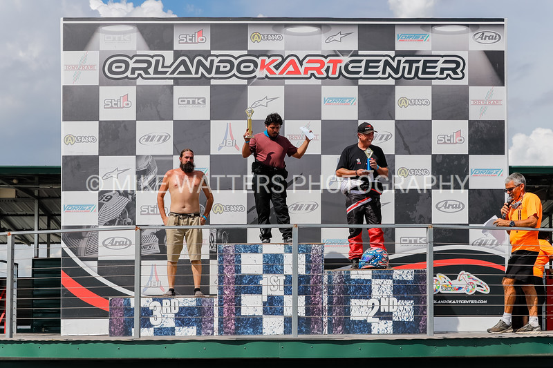 Sept 27, 2020, Orlando, FL, USA; Drivers receive their awards during Round 12 of the Orlando Open race at the Orlando Kart Center Speedway. Mandatory credit: Mike Watters