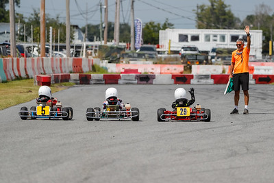 Sept 27, 2020, Orlando, FL, USA; Drivers compete in the KA100 JR-SR division during Round 12 of the Orlando Open race at the Orlando Kart Center Speedway. Mandatory credit: Mike Watters