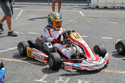 Sept 27, 2020, Orlando, FL, USA; Drivers compete in the Mini division during Round 12 of the Orlando Open race at the Orlando Kart Center Speedway. Mandatory credit: Mike Watters