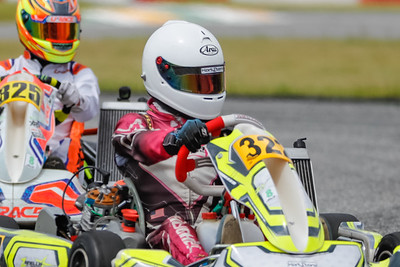 Sept 27, 2020, Orlando, FL, USA; Drivers compete in the Senior division during Round 12 of the Orlando Open race at the Orlando Kart Center Speedway. Mandatory credit: Mike Watters