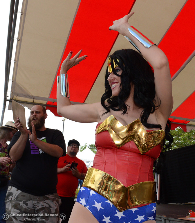 . Cosplayer Cara Nicole as Wonder Woman is announced a s costume contest judge during Oro Con on Saturday, June 3, 2017, at Feather Falls Casino in Oroville, California. (Dan Reidel -- Enterprise-Record)