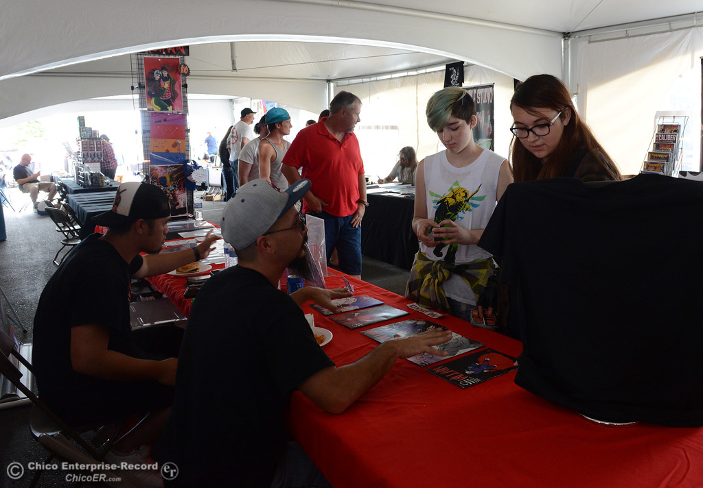 . Kenneth Jessick and Sam Hernandez talk to comic book writer Nathan Gonzalez during Oro Con on Saturday, June 3, 2017, at Feather Falls Casino in Oroville, California. (Dan Reidel -- Enterprise-Record)