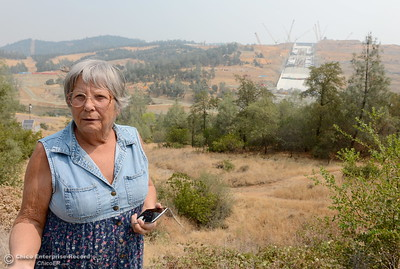 Karen Christie of Oroville along with other locals are getting their first look at the Oroville Dam Spillway since the emergency that closed Oro Dam Blvd. East to the public more than a year ago Monday, July 30, 2018. (Bill Husa -- Enterprise-Record)