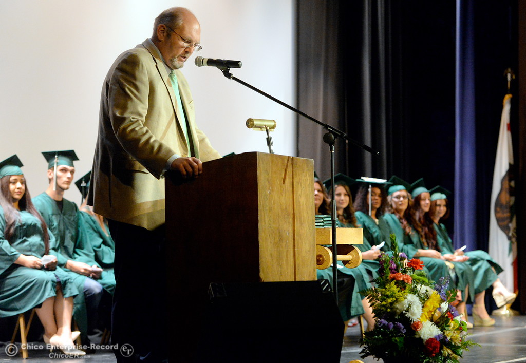 . OUHSD Superintendent Dr Corey Willenberg speaks during the Oroville Adult Education Center Class of 2018 graduation ceremonies at the State Theater in Oroville, Calif. Tuesday June 5, 2018. (Bill Husa -- Enterprise-Record)