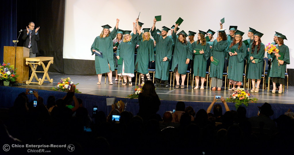 . Graduates celebrate as their graduating class is announced during the Oroville Adult Education Center Class of 2018 graduation ceremonies at the State Theater in Oroville, Calif. Tuesday June 5, 2018. (Bill Husa -- Enterprise-Record)