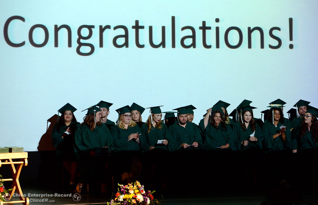 . Congratulations to the class is shown on a large screen during the Oroville Adult Education Center Class of 2018 graduation ceremonies at the State Theater in Oroville, Calif. Tuesday June 5, 2018. (Bill Husa -- Enterprise-Record)