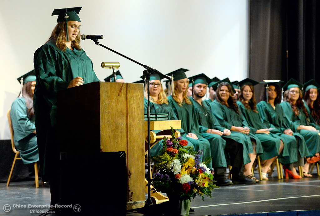 . Graduate Traci Fallan Newman speaks during the Oroville Adult Education Center Class of 2018 graduation ceremonies at the State Theater in Oroville, Calif. Tuesday June 5, 2018. Newman would later be recognized as the recipient of a $500 academic scholarship, the first at the school. (Bill Husa -- Enterprise-Record)