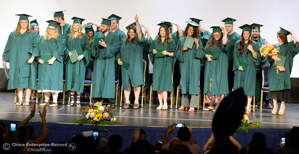 . Approximately 30 students celebrate graduation during the Oroville Adult Education Center Class of 2018 graduation ceremonies at the State Theater in Oroville, Calif. Tuesday June 5, 2018. (Bill Husa -- Enterprise-Record)