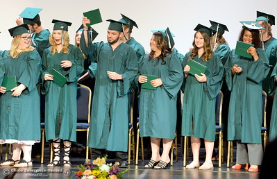 Approximately 30 students celebrate graduation during the Oroville Adult Education Center Class of 2018 graduation ceremonies at the State Theater in Oroville, Calif. Tuesday June 5, 2018. (Bill Husa -- Enterprise-Record)