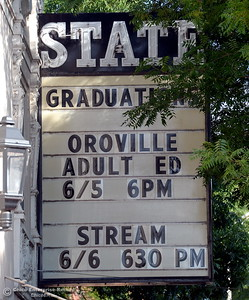 The marquee shows that the Oroville Adult Education Center Class of 2018 graduation ceremonies are held at the State Theater in Oroville, Calif. Tuesday June 5, 2018. (Bill Husa -- Enterprise-Record)