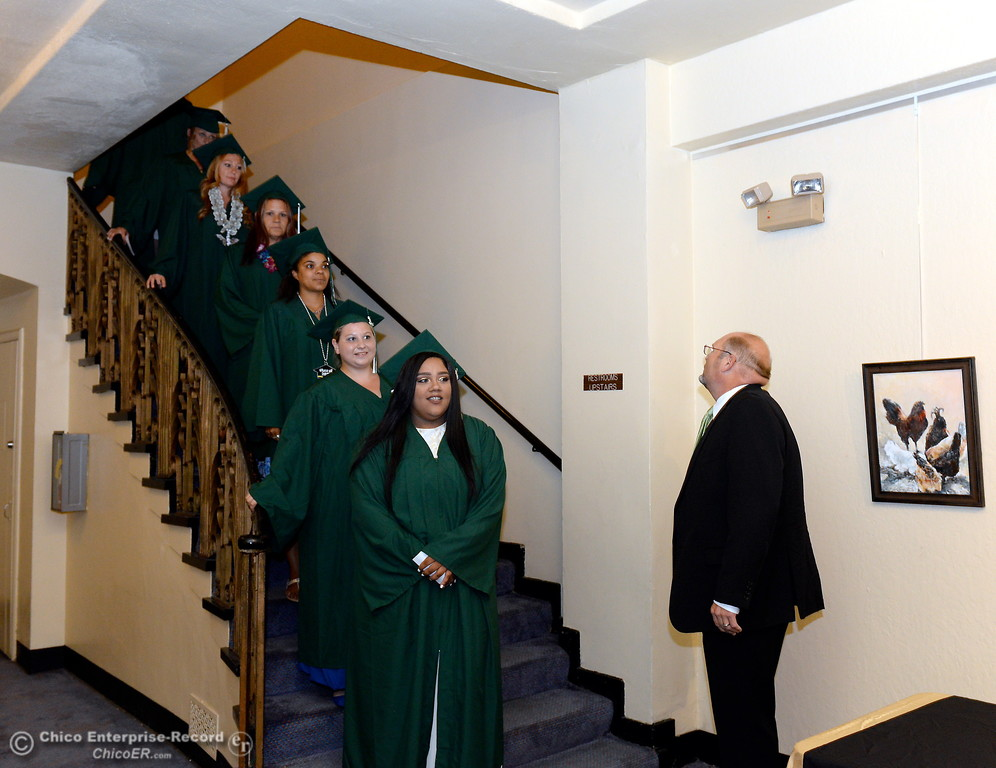 . Superintendant Dr. Corey Willenberg gets graduates ready during the Oroville Adult Education Center graduation ceremonies at the State Theatre in Oroville, Calif. Tues. June 6, 2017. (Bill Husa -- Enterprise-Record)