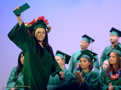 Proud graduates smile after receiving their diplomas during the Oroville Adult Education Center graduation ceremonies at the State Theatre in Oroville, Calif. Tues. June 6, 2017. (Bill Husa -- Enterprise-Record)