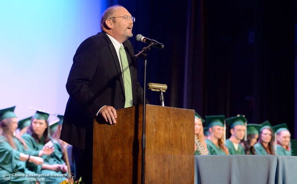 . Superintendant Dr. Corey Willenberg speaks during the Oroville Adult Education Center graduation ceremonies at the State Theatre in Oroville, Calif. Tues. June 6, 2017. (Bill Husa -- Enterprise-Record)