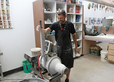 Tom Murphy a ceramics teacher in the visual arts department at Oroville High School reconstitutes clay for the first day of school August 15, 2016 at Oroville High School in Oroville, Calif. (Emily Bertolino -- Mercury Register)