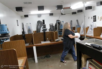 Mrs. Molchen the art and photo teacher at Oroville High School prepares the dark room for the start of the fall semester August 15, 2016 at Oroville High School in Oroville, Calif. (Emily Bertolino -- Mercury Register)