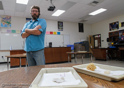 Jeff Reid a general biology and physical science teacher looks down at two trays that are part of a first day activity where students learn about life and what is alive and what is not August 15, 2016 at Oroville High School in Oroville, Calif. (Emily Bertolino -- Mercury Register)