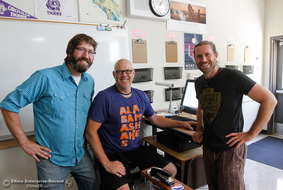 Science teachers Jeff Reid, Rich Hogan and Shane Johnston pose for a picture as they prepare their classrooms and syllabus for the start of the fall semester August 15, 2016 at Oroville High School in Oroville, Calif. (Emily Bertolino -- Mercury Register)