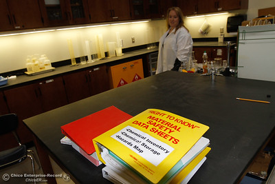 Physics, chemistry and biology teacher Leanna Felardo moves around the chemistry lab as she prepares for the first day of classes August 15, 2016 at Oroville High School in Oroville, Calif. (Emily Bertolino -- Mercury Register)