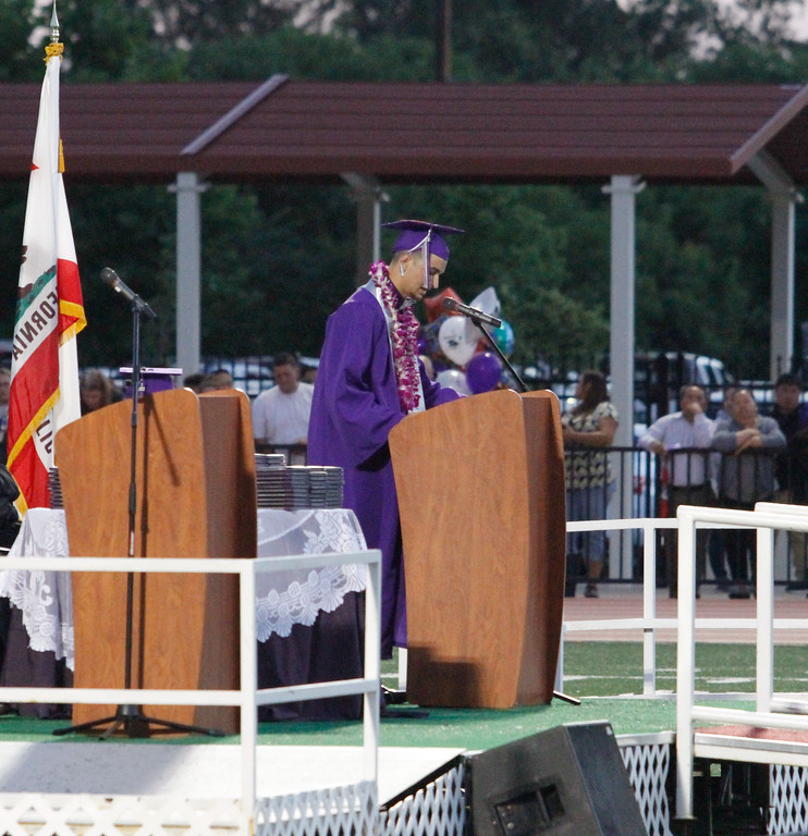 . Hunter Monnot, Orovile High School class of 2017 valedictorian gives a  speech during the graduation ceremony Thursday June 8, 2017 at Harrison Stadium in Oroville, California. (Emily Bertolino -- Enterprise-Record)