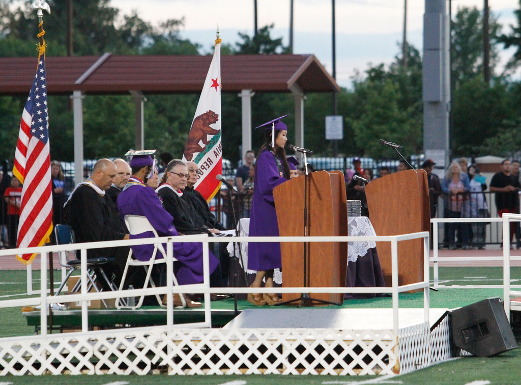 . Maylene Vang speaks during the Oroville High School class of 2017 graduation ceremony Thursday June 8, 2017 at Harrison Stadium in Oroville, California. (Emily Bertolino -- Enterprise-Record)