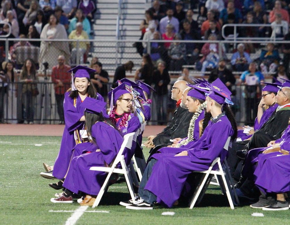 . Mai Her Thao, Orovile High School class of 2017 salutatorian smiles at the crowd after giving her speech during the graduation ceremony Thursday June 8, 2017 at Harrison Stadium in Oroville, California. (Emily Bertolino -- Enterprise-Record)