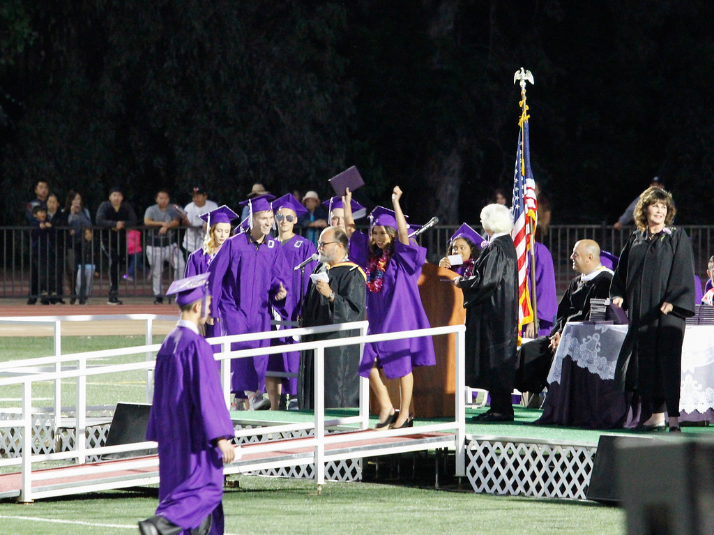 . The Orovile High School class of 2017 receive their diplomas during the graduation ceremony Thursday June 8, 2017 at Harrison Stadium in Oroville, California. (Emily Bertolino -- Enterprise-Record)