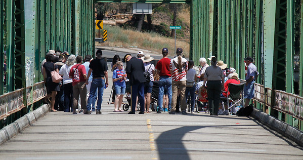 Memorial Day ceremony Monday May 29, 2017 on the green bridge in downtown Oroville, California. (Emily Bertolino - Mercury Register)