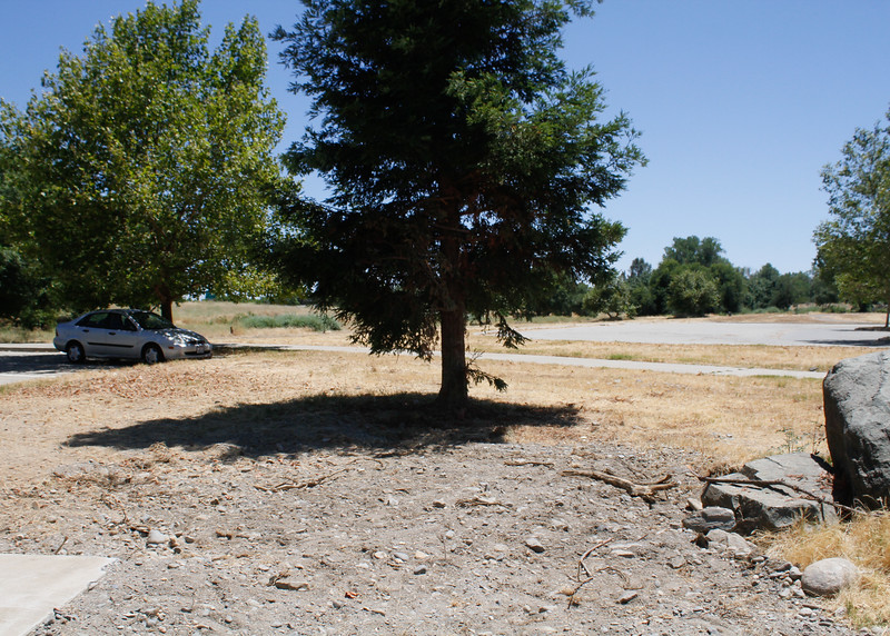 A vacant space where the Visitor Center once stood Thursday July 6, 2017 at Riverbend Park in Oroville, California.  (Emily Bertolino -- Mercury Register)