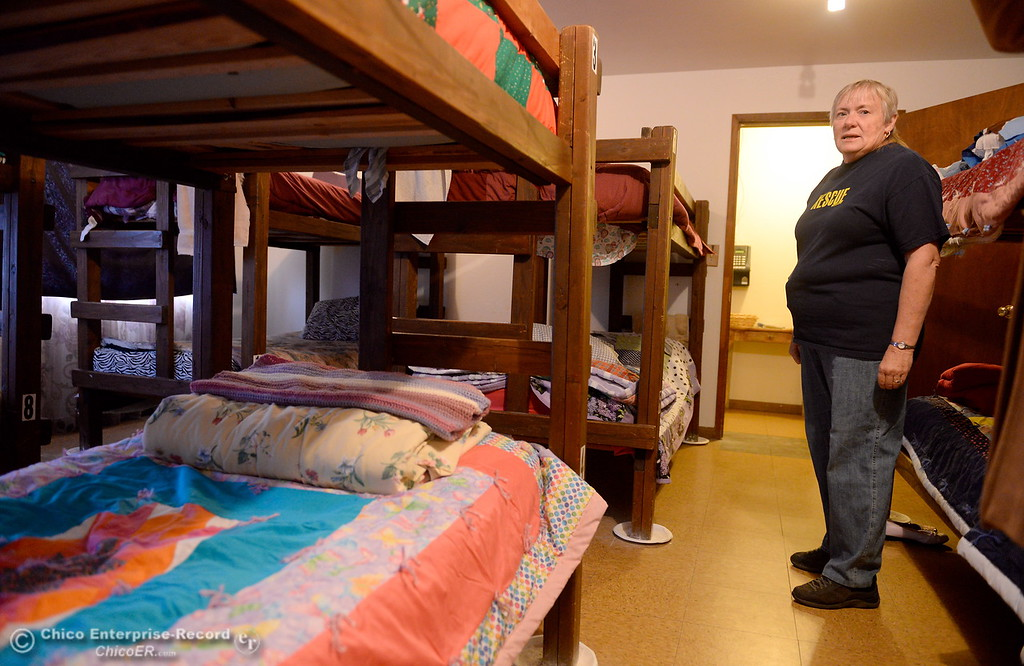 . Family Services Director Annie Terry shows inside of the womens dorm as she talks about the Mission during a tour of the Oroville Rescue Mission on Lincoln Blvd. in Oroville, Calif. Thurs. Nov. 9, 2017.  (Bill Husa -- Enterprise-Record)