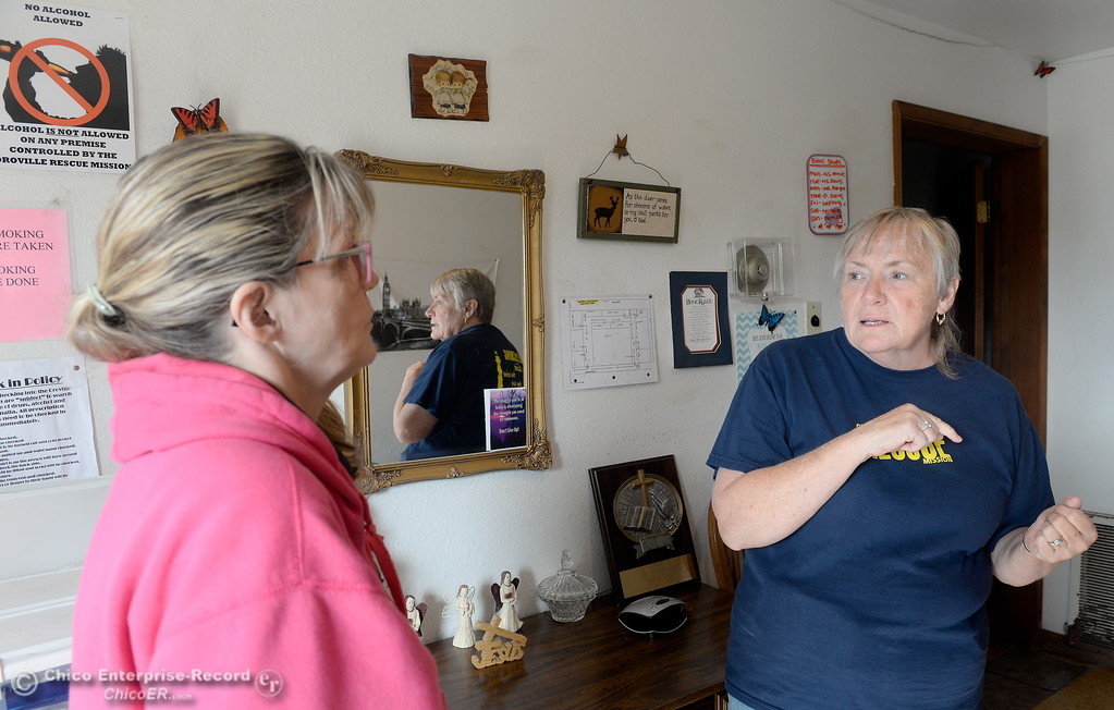 . Kara Conn, left and Family Services Director Annie Terry talk about the Mission during a tour of the Oroville Rescue Mission on Lincoln Blvd. in Oroville, Calif. Thurs. Nov. 9, 2017.  (Bill Husa -- Enterprise-Record)