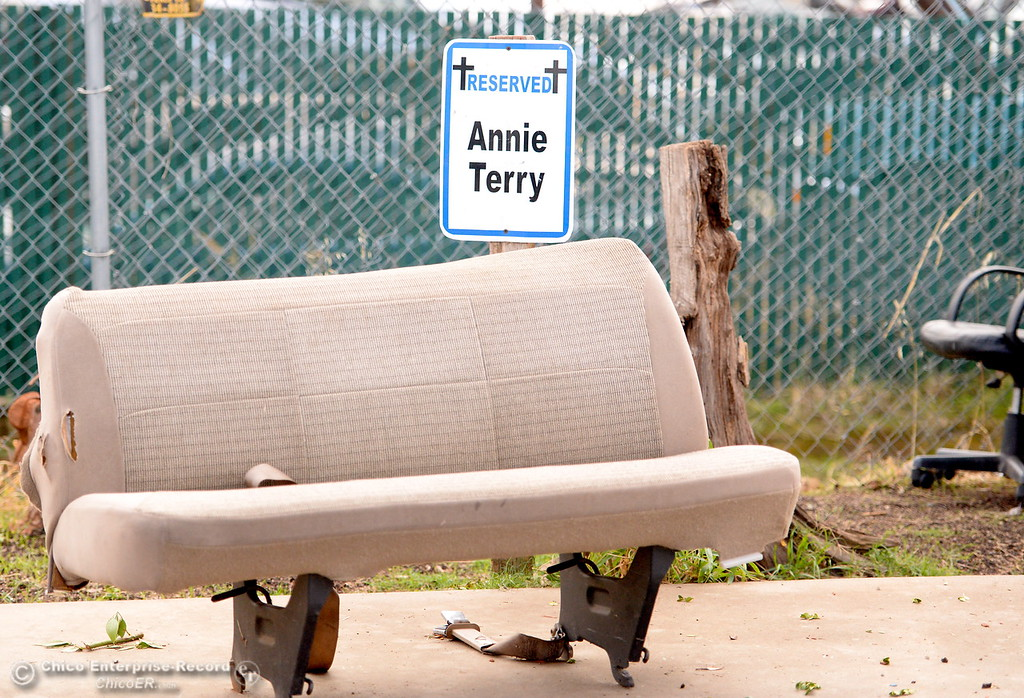 . A vehicle bench seat sits in Annie Terry\'s reserved parking spot during a tour of the Oroville Rescue Mission on Lincoln Blvd. in Oroville, Calif. Thurs. Nov. 9, 2017.  (Bill Husa -- Enterprise-Record)