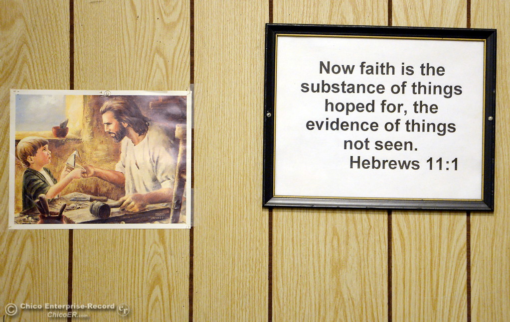 . Lots of inspirational signs and notices about Mission rules can be found posted on walls during a tour of the Oroville Rescue Mission on Lincoln Blvd. in Oroville, Calif. Thurs. Nov. 9, 2017.  (Bill Husa -- Enterprise-Record)