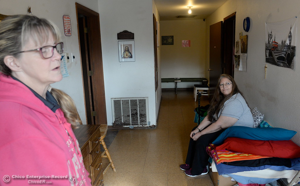 . Kara Conn, left and Ginamarie Sotelo at right talk about the Mission during a tour of the Oroville Rescue Mission on Lincoln Blvd. in Oroville, Calif. Thurs. Nov. 9, 2017.  (Bill Husa -- Enterprise-Record)